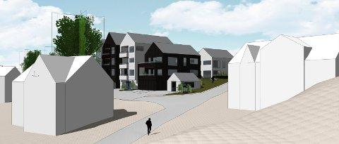 ENDRET PROSJEKT: Ranvikveien 63 rommer nå 12 leiligheter. Her er bebyggelsen sett fra sør. (Illustrasjon: Spir Arkitekter)