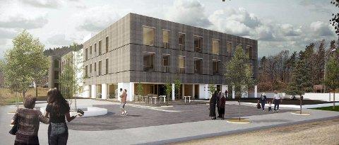 UTE: I andre runde har HENT gjort en del forandringer på eksteriøret til det nye omsorgssenteret i Andebu sentrum.  (Illustrasjon: Link Arkitektur)