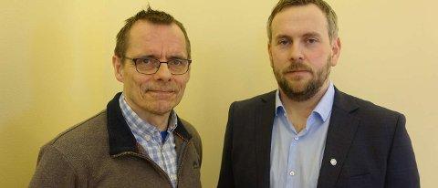 Nyvalgt leder Martin Grønnslett til høyre og nestleder Odd Hugo Pedersen til venstre.