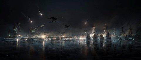 Consept Design: Nikolai Lockertsen forsøker å hjelpe filmmakerne med å finne den rette scenen i Tromsø havn.