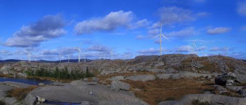 Slik ser utbyggjarane føre seg Bjerkreim vindpark. Den største delen av vindparken skal liggja i Bjerkreim, resten i Hå.