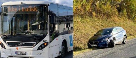 MISTENKER RUSKJØRING: Politiet mistenker ruskjøring fra privatbilisten som traff en rutebuss ved Solligården torsdag ettermiddag.