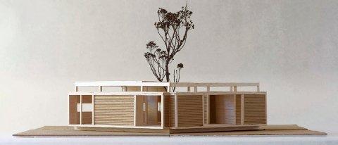 ANNERLEDES: Hytta er ifølge arkitekten planlagt som et atriumsformet bygg med et lavmælt og moderne uttrykk. (Illustrasjon: Vardehaugen)