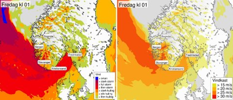 HOLD PÅ HATTEN: Her ser du hvordan vinden er ventet inn over Sør-Norge.