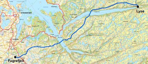 Kart: kraftledning fra Lyse - Fagrafjell. Foto: OED