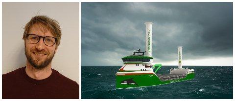 FRAMTIDSORIENTERT: Stian Holsen er ein av dei som skal utvikle «With Orca». Han seier selskapet ønsker å bidra til ei grønare framtid: – Vi må tenke miljøvenleg i alle ledd, både i produksjon og drift. Dette er framtida, seier han.