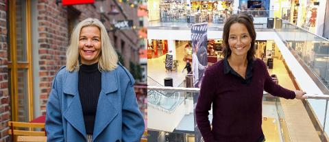 Sentrumsleder Line Jeppesen og senterleder i Torvbyen Monique Blystad håper Fredrikstad-folk har endret vanene sine under koronapandemien og fortsetter å bruke sentrum, selv om grensene åpner.