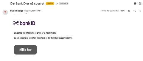 Slik ser e-posten da du mottar den. Rådet er å IKKE klikke på linken videre. Dette er svindel.