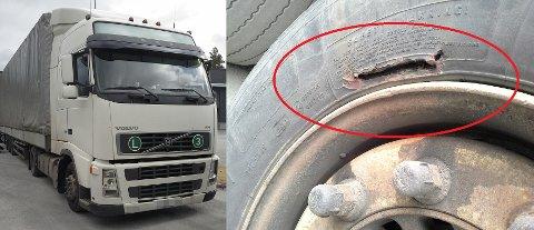 FORSØKTE Å LIME DEKKET: Sjåføren av denne russiske semitraileren hadde forsøkt å lime ødelagte dekk. – Det gikk ikke helt bra, sier Geir Thomas Finstad i Statens vegvesen. (Foto: Statens vegvesen)