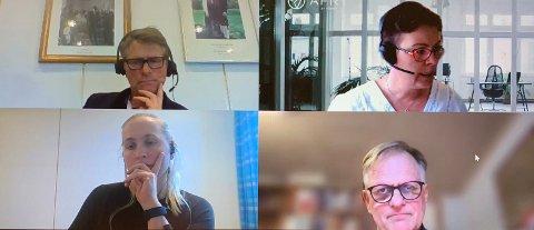 SENTRAL KVARTETT: Fire nøkkelpersoner i prosjektet blir ordfører Anders Østensen, leder for rådgivergruppa, Ellen Melander, plansjef Berit Adriansen og prosessleder Jan Dietz.