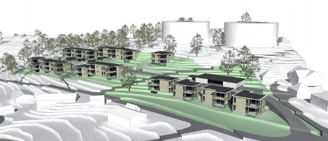 FRA MOKOLLVEIEN: Slik er leilighetsprosjektet tenkt på kommunens tomt på Midtås. (Illustrasjon: PV Arkitekter)