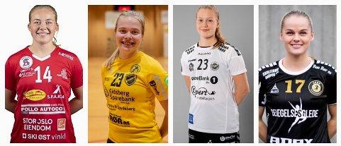 VENSTREHENDTE: Disse fire lokale jentene er alle venstrehendte og er alle nå tilknyttet eliteserielag i håndball. Mari Nilsen Solberg, Skiptvet (f.v.) (spiller for Follo HK damer), Mia Kvithyll, Mysen (spiller for Fredrikstad BK), Charlotte Koffeld Iversen, Skiptvet (spiller for Flint Tønsberg) og Rikke Midtfjeld, Mysen (spiller for Aker Topphåndball).