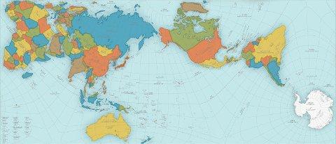 PRISVINNENDE PRESIST: AuthaGraph er både vitenskapelig presist og pent og se på. Det vant nylig en prestisjetung designpris i Japan. Legg merke til størrelsen på Antarktis på dette kartet sammenliknet med det tradisjonelle verdenskartet i toppen av artikkelen.