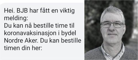 FULLT: Bjørn Johan Berger åpnet meldingen om bestilling av vaksinetime én time og ti minutter etter han mottok meldingen. Da var alle timene fullbooket.