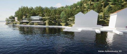 Illustrasjonen viser deler av forslaget fra Saugbrugs om utviklingsprosjektet på Sauøya.