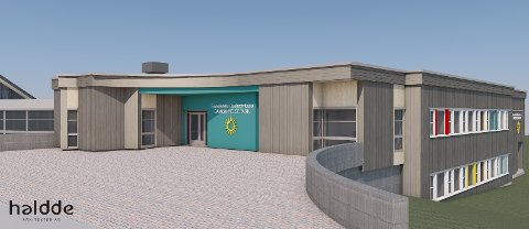 INNGANG: Slik blir inngangspartiet i den nye samiske helseparken i Karasjok.
