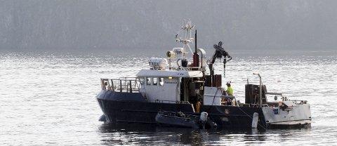 Borebåt: Multiconsult gjør grunnundersøkelser for NOAH i Mulvika.foto: Jarl Rehn-Erichsen