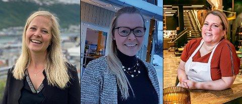 BESØK: Turist-, utelivs- og restaurantbransjen i Tromsø merker en oppsving. Fra venstre: Lone Helle i Visit Tromsø, Ida Kristine Jakobsen på The Edge og Yvonn Steffensen på Maskinverkstedet.