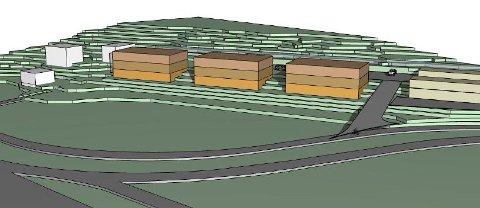 B2 eiendom Mære AS ønsker å bygge tre leilighetsbygg med tilsammen 24 boliger langs E6 på Mære.