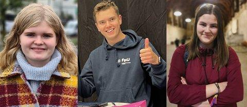 Dordi Boksasp Lerum (SU), Joakim Myklebost Tangen (FpU) og Kristina Mari Roald (AUF) ser tilbake på gode resultater etter årets skolevalg.