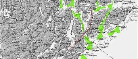 Gyteområder: De grønne feltene viser hvor torsken gyter i Tvede-strandsfjorden. Fra januar og ut april blir det fra neste år forbudt å fiske innenfor den røde linjen. Ordningen skal evalueres etter tre år.