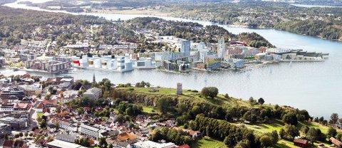 BYGGER I TØNSBERG: Utbyggingstakten er stor i fylket vårt. Kanskje kan Kaldnes-området se slik ut om noen år.