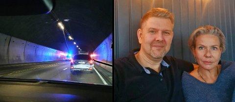 I TUNNELEN: Trond og Monica Sommerstad var bare titalls meter fra ulykken i Oslofjordtunnelen mandag.
