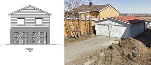 NABOEN FIKK MEDHOLD: Naboene som klaget på at kommunen ga tillatelse til en omgjøring av enebolig til tomannsbolig samt en garasje med boligdel (tegningen til venstre) fikk medhold av Fylkesmannen. Byggetillatelsen er nå omgjort til et avslag.