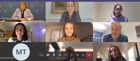 KORONA OG VALG: Statsminister Erna Solberg var tirsdag med på en digital samfunnsfagtime ved Lillestrøm videregående skole. Elevene fikk svar på spørsmål om USA-valget, mens statsministeren benyttet anledningen til å spørre ungdommene om koronasmitte blant ungdom.