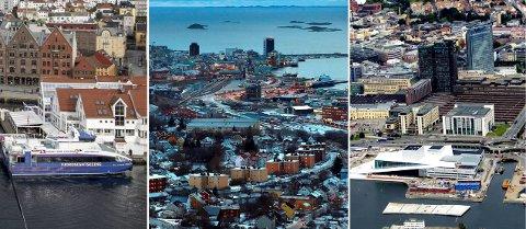 TRE BYER: Smitten i Bergen, Bodø og Oslo uroer. I løpet av uka før påske kommer det 91 flymaskiner til Tromsø lufthavn fra disse tre byene.