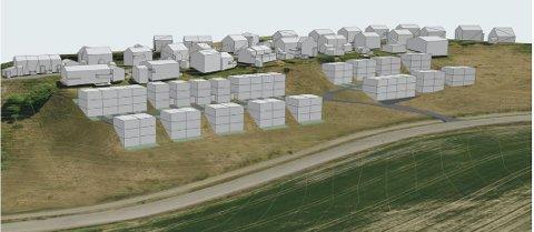 FORELØPIG PLAN: Slik ser Taraldset eiendom for seg boligfeltet på 38 nye boenheter.