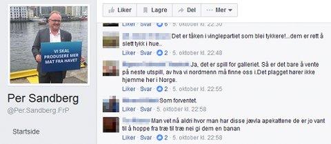 Skjermdump fra Facebook-sidene til fiskeriminister Per Sandberg (Frp).