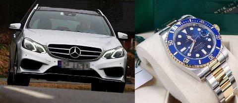 LURT TRILL RUNDT: 28-åringen lurte eierne av Mercedesen og Rolexen trill rundt og sikret seg kostbare luksusgjenstander for nærmere 400.000 kroner. De så aldri noe til pengene. Nå er bilen og klokka søkk borte.