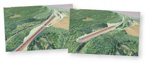 FLERE MULIGHETER: Det er utredet ulike konsepter som kan være aktuelle på Sunde. Terminalen kan utformes på begge sider av Sørlandsbanen, som illustrert i bildet.