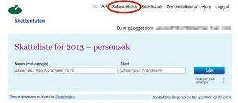 AVSLØRER SNOKING; Fanen «Søkestatistikk» gir deg oversikt over alle som sjekker skatten din.
