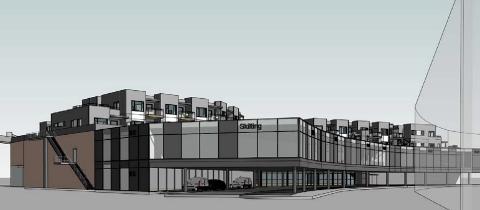 SKISSE: Slik kan den nye forretningsetasjen over P-plassene ved Amfi bli seende ut. Det vil gi plass til om lag seks nye forretninger.