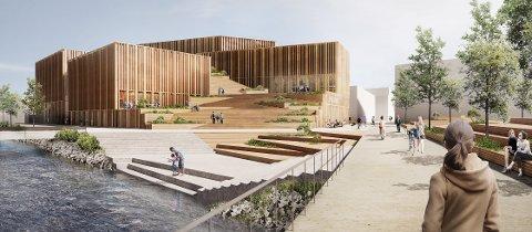 """HUNTONSTRANDA KULTURHUS: Arkitektene i danske Urban Power har tegnet et signalbygg på """"sirkustomta"""" ved innkjøringen til Huntonstranda."""