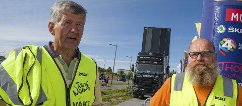 SKUFFET: Ritt og arrangementsansvarlig Nils Morten Rognstad og leder Hans-Petter Trondsen i Ullensaker Cykleklub.         FOTO: Vidar Sandnes