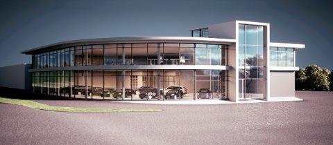 SPEILVENDT: Solinvest AS skal bygge et speilvendt bygg av Bilsalongen langs Porsgrunnsvegen. Bygget koblet sammen med Formobygget.