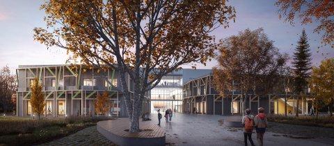 TIDSPRESS: Nye  Åsgård skole vil frigjøre lokaler som Ås kommune kan flytte flere av sine virksomheter til, men da må skolen stå klar som planlagt til skolestart i 2023.