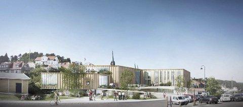 B13: Skisse av det planlagte kommunens nye administrasjonsbygg på Danskekaia.Illustrasjon: B13 Kragerø AS/Erik Malm