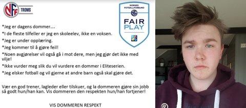 TROR DET HAR NOE FOR SEG: Andreas Brendeløkken er ung kretsdommer i Troms. Han tror et dommerkort som kretsen nå introduserer kan hjelpe yngre dommere til å få bedre opplevelser på fotballbanen.