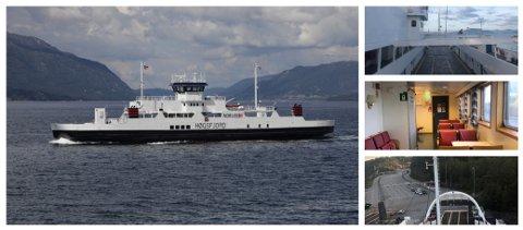 ULLSFJORDFERGA: Dette er MF «Høgsfjord» som fra 1. januar ble den nye Lyngenferga. Den er bygget i 1993, og kan ta 399 passasjerer, og 90 biler. Maksimal kapasitet for vogntog er 10.