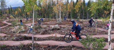 FULL FART: Noen av syklistene som tok i bruk de nye sykkelstiene i Fulufjellet lørdag. Her var det full fart fra åpningen klokka 13.