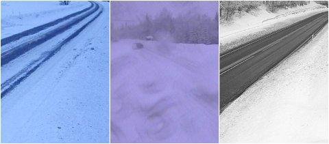 VINTERFØRE: Igjen kom det litt snø, som har skapt hvite veger noen steder. Her på riksveg 3 ved Østlund, rv. 25 Midtskogberget og rv. 3 Rena.