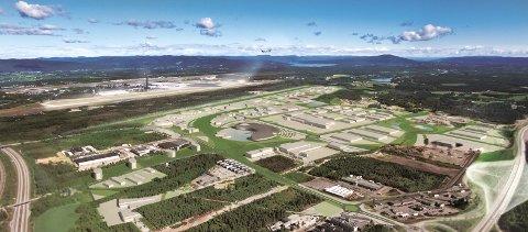 Slik ser Bergmoen AS for seg at Gardermoen Business Park kan bli. Men foreløpig stanses planene av manglende finansiering av et nytt E6-kryss.