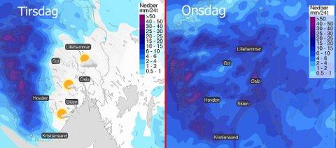 FRA FINT TIL ØS PØS: Kartet til venstre viser tirsdagsværet. Til høyre ser du hvordan regnet kommer onsdag.