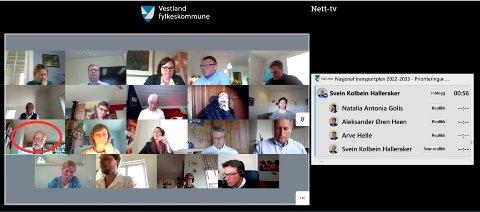 Fylkespolitikerne møtes digitalt for tiden, dette er et skjermbilde fra møtet om NTP forrige uke.