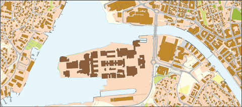 NTNU lagt oppå Værsteområdet. Kartgrunnlag: Fredrikstad kommune, Trondheim kommune.
