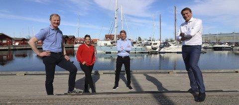 Høyre støtter Holmestrand : Høyres Erlend Larsen, Helle Westgaard-Halle, Aleksander Leet og Kårstein Eidem Løvaas bidrar til ønsket løsning. Foto: Pål Nordby